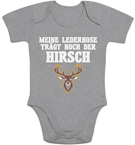 Shirtgeil Meine Lederhose Trägt Noch Der Hirsch Baby Body Kurzarm-Body 12M Grau