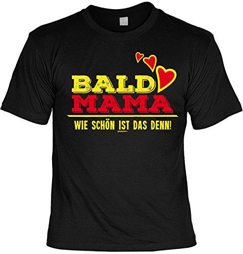 Mama-Shirt/Sprüche-Shirt/Mütter/Spaß-Shirt/Fun-Shirt: Bald Mama Wie schön ist das denn! für werdende Mütter Schwarz