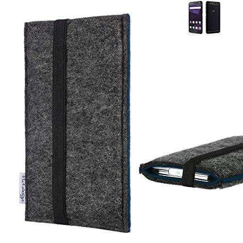 flat.design Handyhülle Lagoa für ZTE Blade V8 64 GB | Farbe: anthrazit/blau | Smartphone-Tasche aus Filz | Handy Schutzhülle| Handytasche Made in Germany