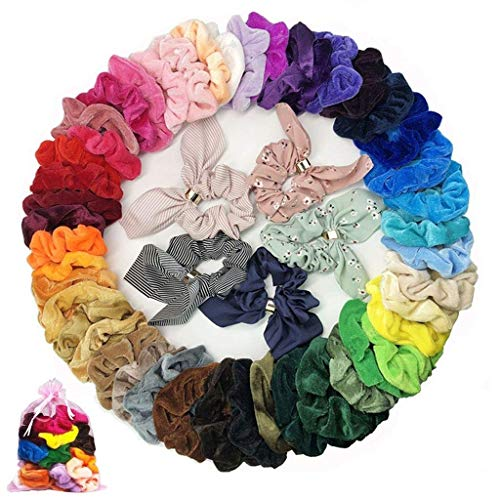 TAOtTAO 50 Stück Haargummis Samt elastische Haarbänder Haargummis Seile Peeling -