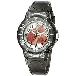 GuTe Niños Dial de reloj de cuarzo con patrón de baloncesto y Eco Correa de plástico
