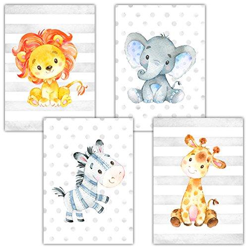 Frechdax® 4er Set Kinderzimmer Babyzimmer Poster Bilder DIN A4 | Mädchen Junge Deko | Dekoration Kinderzimmer | Waldtiere Safari Skandinavisch (4er Set Safari, Zebra, Löwe, Giraffe, Elefant)