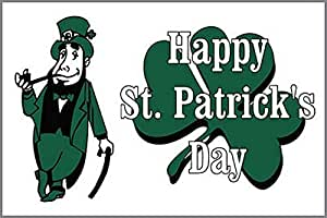 Happy St Patricks Day 3' X 2' 3ft x 2ft Flag With Eyelets Premium Quality Irish Ireland