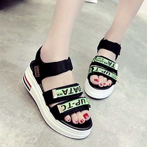 Lgk & FA d'été Sandales pour femme pour femme Sandales Heavy Semelles Semelles d'école orteil école Chaussures de plage pour femme Chaussures green