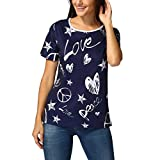 JUTOO Damen Shirt Casual Bluse lose Baumwolle Tops T-Shirt(B-Marine,EU:44/CN:XL)