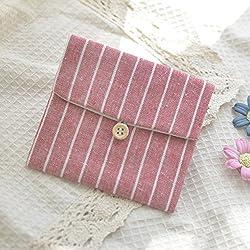 MINISU - Monedero de algodón con diseño de Rayas para niñas y Mujeres, algodón, Watermelon Red, 10.7x11.5cm