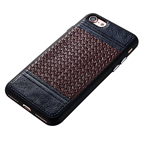 EKINHUI Case Cover Mischfarben Weaving Pattern PU Leder Skin Coated Cover Shell Soft TPU / Silikon Rückseiten Fall Fall für iPhone 7 ( Color : A ) G
