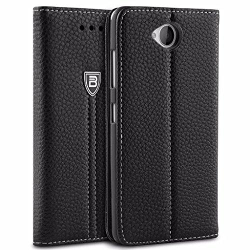 Lumia 650 Hülle, BEZ® Schutzhülle Handyhülle Microsoft Lumia 650 Tasche, Flip Case ausKunstleder Hülle Klappetui mit Kreditkartenhaltern, Ständer, Magnetverschluss - Schwarz