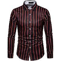Camisa de Manga Larga con Franjas enrejadas para Hombre Camisas Blusas de Gran tamaño y tamaño Informal