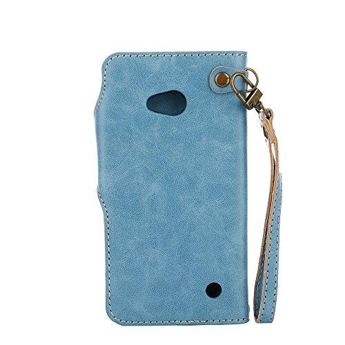 YHUISEN Nokia Lumia 640 Case, Luxus Retro Rose Premium PU Leder Magnetverschluss Flip Wallet Schutzhülle mit Lanyard für Microsoft Nokia Lumia N640 ( Color : Pink ) Blue