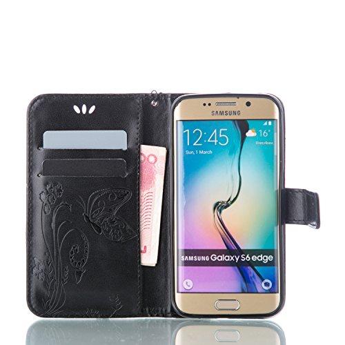 Galaxy S6 Edge Hülle,Galaxy S6 Edge Schutzhülle,Galaxy S6 Edge Case,Galaxy S6 Edge Leder Wallet Tasche Brieftasche Schutzhülle,ikasus® Prägung Klee Blumen Muster PU Lederhülle Flip Hülle im Bookstyle  Groß Schmetterling:Schwarz
