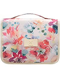 Summer Flower : Portable Waterproof Travel Makeup Bag - Lady Color Foldable Organizer Travel Cosmetic Toiletry...
