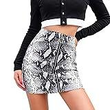 beautyjourney Minifalda con Cremallera Ajustada de Serpiente para Mujer Falda Ajustada de Cintura Alta de Corte Slim Falda Skater Básica