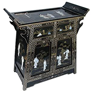 Chinese furniture black lacquer altar cabinet with for Asian furniture uk