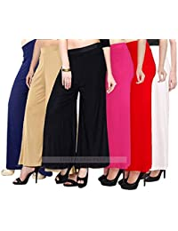 Lili Women's Synthetic Palazzo (+ Malia Fe + {6} : N,T,B,B P,R,W :, Multicolor, Pack of 6)