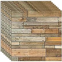ZCHENG Rústico Vintage 3D paneles de pared de madera de imitación para la sala de estar