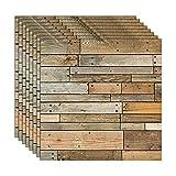 ZCHENG Rustikale Vintage 3D Faux Holz Wandpaneele für Schlafzimmer Wohnzimmer selbstklebende Tapete für Badezimmer Küche Backsplash Fliesen, 8 STÜCKE