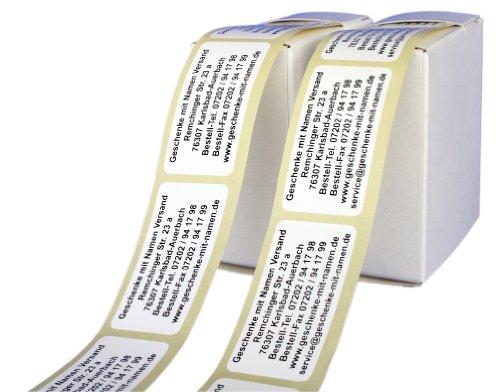 ADRESS-AUFKLEBER MAXI mit Wunschdruck in schwarzer Schrift | 200 Stück auf der Rolle| schöne geprägte Adress-Etiketten | Namens-Aufkleber, individuell mit Wunschtext, ca. 52 x 26 mm, für 1 bis 7 Zeilen