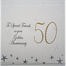 """White Cotton Cards grande Big Twist gamma """"Golden, a special Friends on your Golden Anniversary 127cm"""" 50th anniversary card"""
