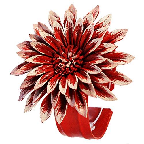 ISLAND PIERCINGS Blumen Armband aus echtem Leder größenverstellbar Rot-Weiss B108