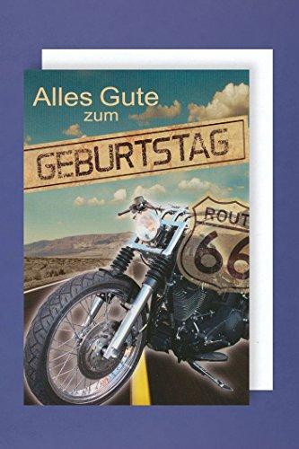 AvanCarte GmbH Männer Geburtstag Karte Grußkarte Motorrad Route66 Biker 16x11cm