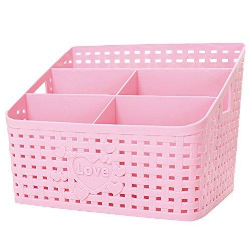 t Kosmetische Behälter Schreibtisch Organizer Zuckerrohr Weben Design mit Höhle und Love Muster, rose, 7.6''*6.3''*5.5'' ()