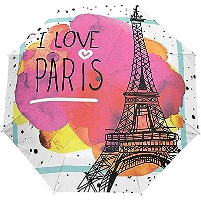 Vintage Paris Eiffel Tower Auto Close Paraguas Anti UV Plegable Compacto Automático Paraguas