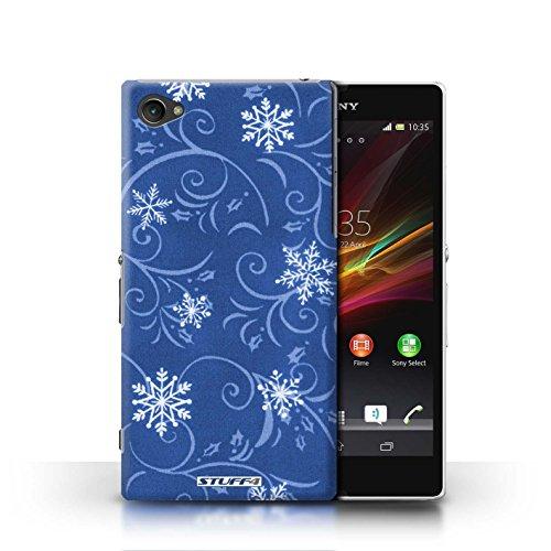 Kobalt® Imprimé Etui / Coque pour Sony Xperia Z1 Compact / Bleu conception / Série Motif flocon de neige Bleu