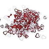 MagiDeal Jahrestag Geburtstag Weihnachten Hochzeit Party Mettalic Confetti Tischdeko Konfetti - Rot+Weiß Herz