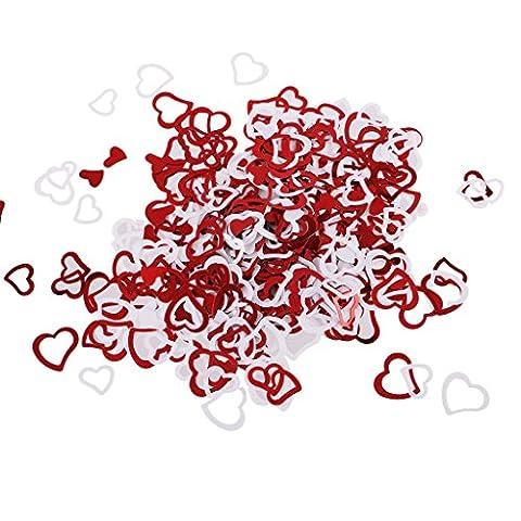 MagiDeal Sac Plastique Confettis de Coeur D'armour Romantique Rouge et Blanc Décor Table pour Mariage Fiançailles