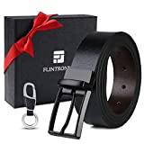 flintronic  Cinture Uomo in Pelle, Reversibile Cintura 33mm 125cm Nero e Marrone, Casuale Classico Vintage, con Portachiavi e Confezione Regalo