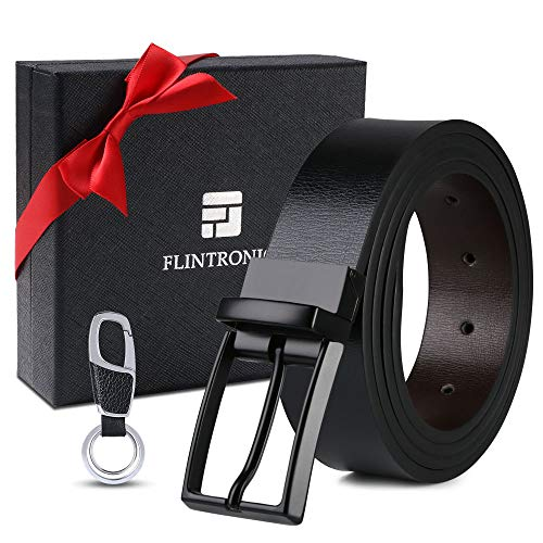 flintronic® Herren Gürtel, Leder Dornschließe Business Gürtel Lederimitat 125cm für Männer, Schwarz und Braun (inkl Schlüsselbund) -