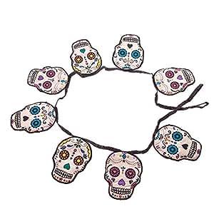 SUGAR SKULL-- Bannière/Guirlande de fanions en tissu rembourré Halloween 150 cm