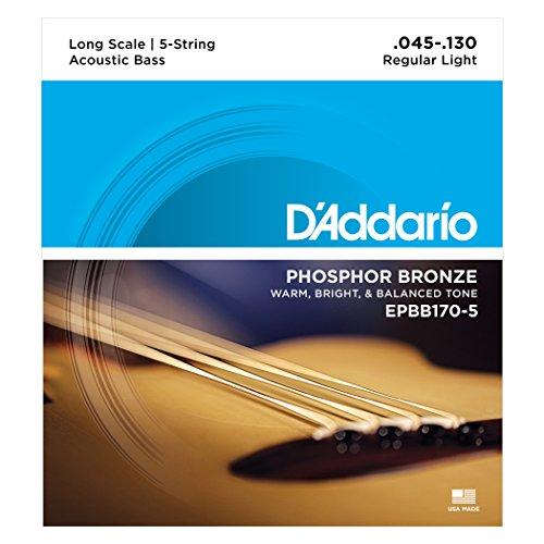 D'Addario EPBB170-5 Phosphor Bronze Akustik Bass Saitensatz 0,11 cm - 0,33 cm (.045 - .130 Zoll)