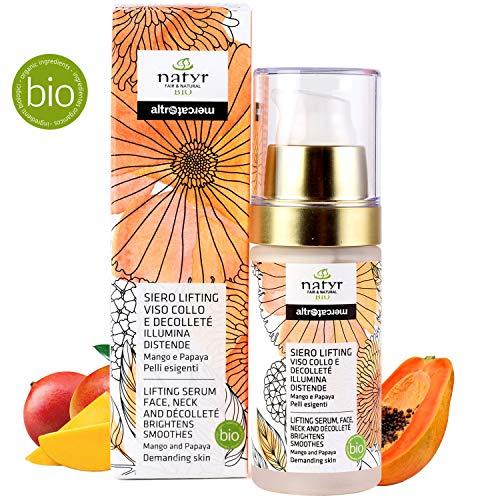 Natyr® Bio Hyaluronsäure Serum - Die Nr.1 Anti-Aging Formel aus Italien - Gesicht Straffen, Glätten, Festigen - Papaya, Mango Extrakt - Naturkosmetik für anspruchsvolle Haut / 30ml -