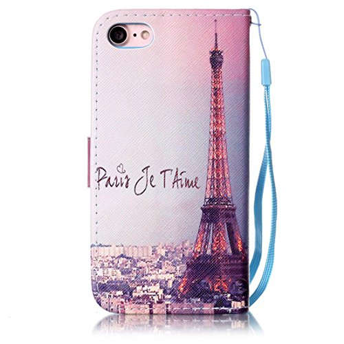 iPhone 7 Coque, Noir Cuir iPhone 7 Etui Rabat Style Prime Portefeuille Case Avec Carte Slots pour Apple iPhone 7 4.7 inch Avec Don't Touch My Phone Motif Image bleu-2
