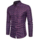 Uomo T-Shirt Stampata Maglietta Con Corta Casuale Lo Stile Della Macchiolina Creativo Grafiche Stampato a maniche lunghe Camicie Maniche Lunghe Slim Fit Casual Long Sleves Fashion (l, Purple)