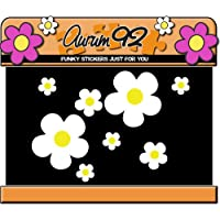 Aurum92 White Daisy Flower Stickers x26 - Car, Laptop, Windows