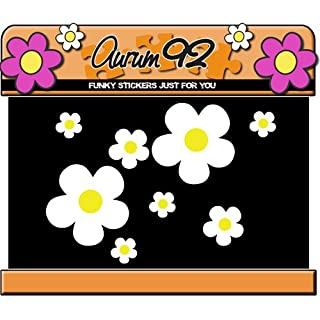 Aurum92 White Daisy Flower Stickers x26 - Car, Laptop, Windows
