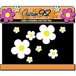 26 pegatinas de flores de margarita blanca para coche, portátil, ventana