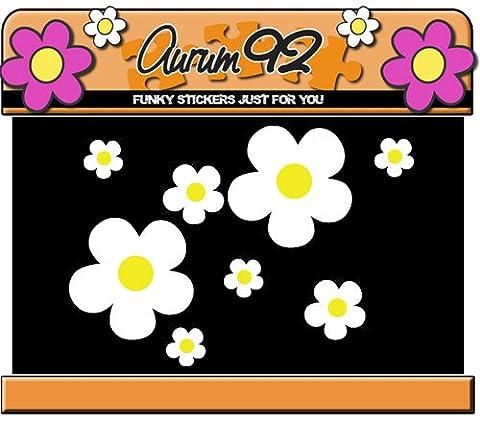 26 autocollants blancs Autocollants Fleurs, faciles à installer