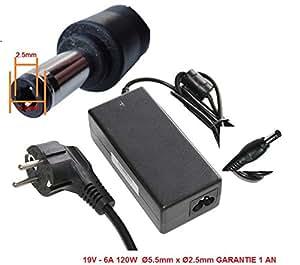 CHARGEUR ALIMENTATION COMPATIBLE POUR PC Portable ACER PACKARD BELL EMACHINE GATEWAY 19V - 6A 120W Ø5.5mm x Ø2.5mm GARANTIE 1 AN