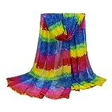 TOPSTORE01 Damen Schal Regenbogenfarbe Voile Halstuch Bunte Stola (Farbe2)