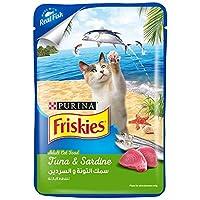 طعام غير جاف من سمك التونا والسردين للقطط البالغة من بورينا فريسكيز، 80 غرام
