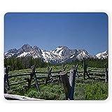 Tappetino per mouse Idaho, montagne a dente di sega Cime innevate Foto di paesaggio di prato, Verde militare blu cielo 22 *   18 cm