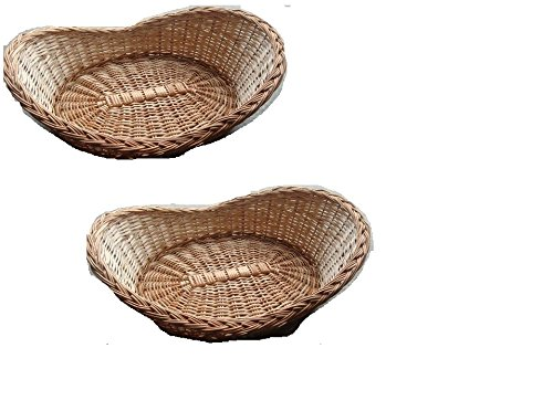 Indrani Collection Bamboo And Cane Fruit and vegetables baskets - (Small-23 Cms x 15.24 Cms, Large-28 Cms x 18 Cms, Brown) (Set Of 2)