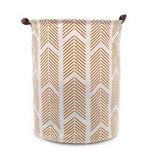 Oyfel Panier à Linge Barils de Stockage de Jouets Corbeilles Bac à Linge Household Organisateur Panier de Rangement en Tissu avec Poignée 40cm*50cm Beig