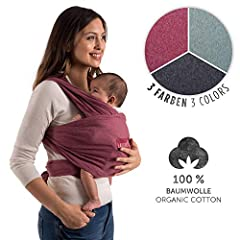 Idea Regalo - Laleni, Porta Bebè | 100% cotone biologico | per neonati fino a 15kg | produzione europea | traspirante | senza elastan artificiale | (rosso)