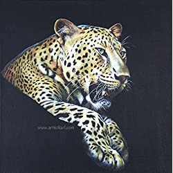 Night Watch - painting of a Leopard on leather