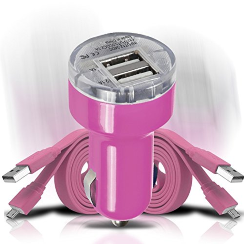 sprint-force-tag-heuer-link-t-mobile-concord-car-charger-set-hot-pink-12v-in-car-charging-mini-bulle